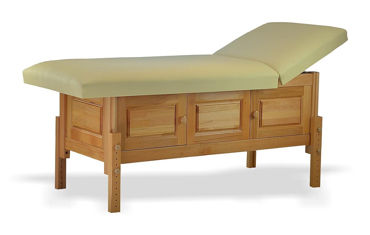 Masă de masaj staționară, model Bella, de la BIOS!  Structura de lemn masiv finisată natur, pernă două secțiuni,