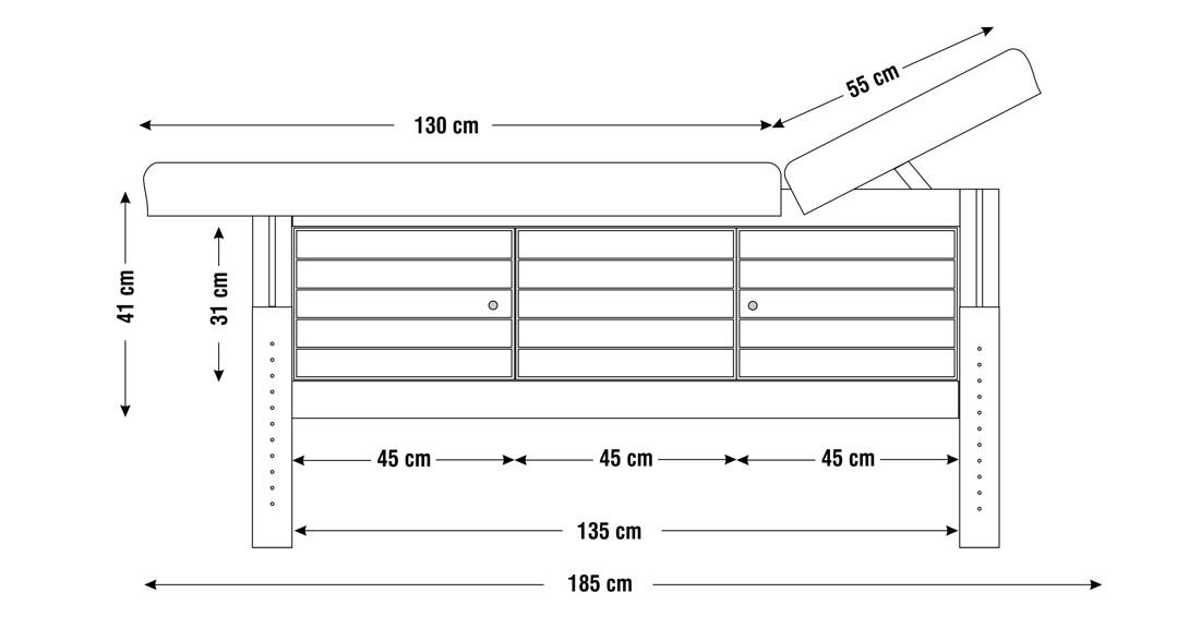 Dimensiuni perna  patru sectiuni, model Aisha, schita 1