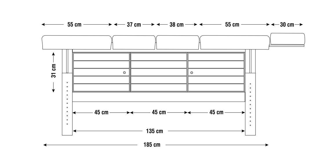 Dimensiuni perna  patru sectiuni, model Aisha, schita 2