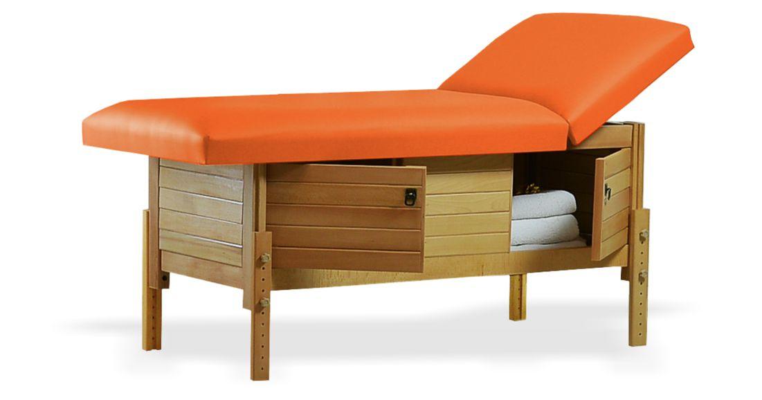 Masă de masaj staționară, model Aisha, de la BIOS, pernă două secțiuni, tapițerieorange, finisaj lemn natur, spațiu de depozitare cu două usi batante.