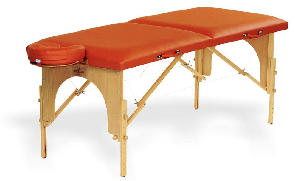 Arcada  - masă de masaj portabilă, două secțiuni, lemn natur, tapițerie maro-brandy