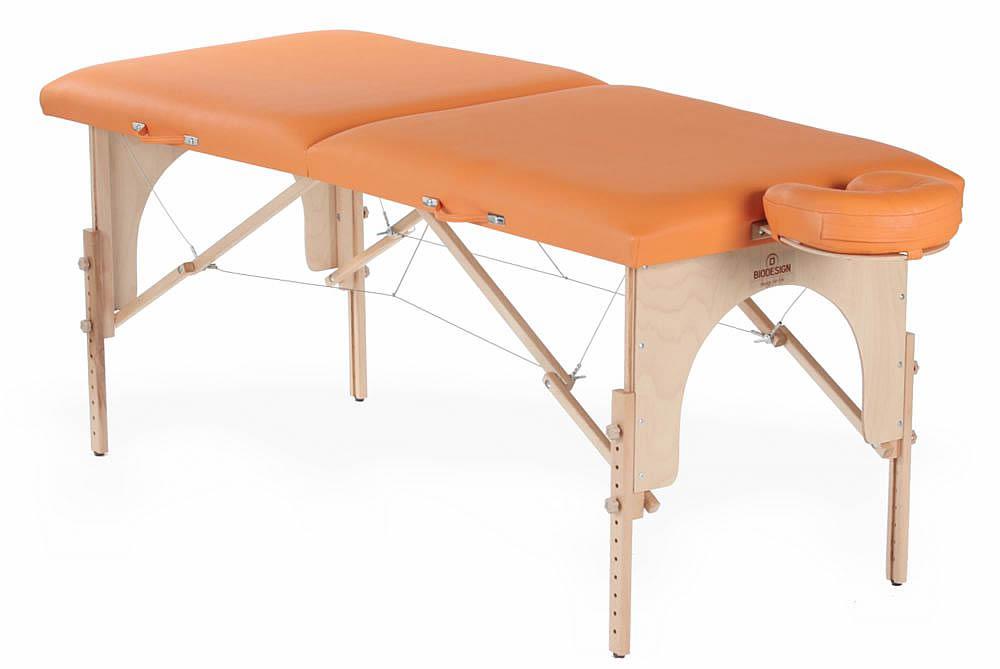 Arcada  - masă de masaj portabilă, două secțiuni, lemn natur, tapițerie orange