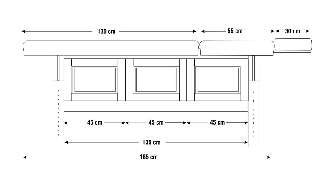 Dimensiuni perna doua sectiuni, model Bella, schita 2