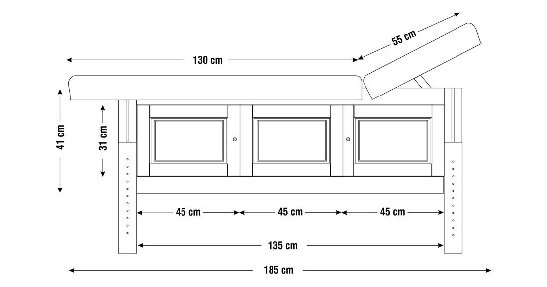 Dimensiuni perna doua sectiuni, model Bella, schita 1