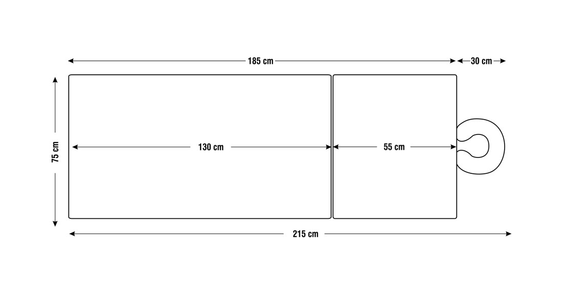 Dimensiuni perna doua sectiuni, model Bella, schita 4