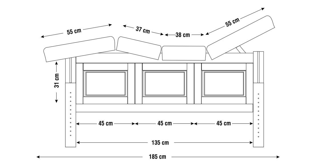 Dimensiuni perna  patru sectiuni, model Bella, schita 1