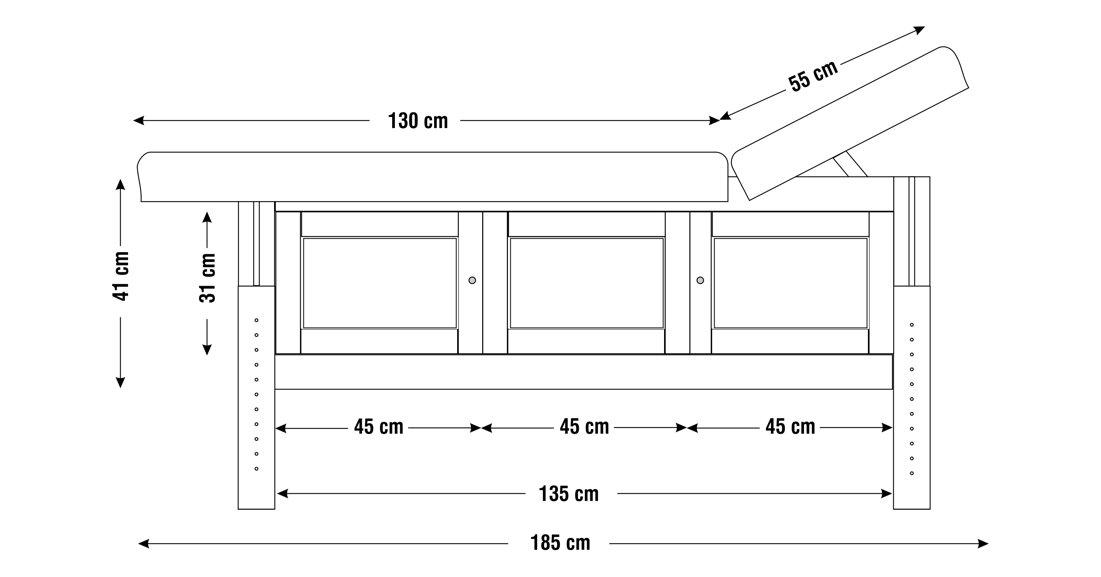 Dimensiuni perna  patru sectiuni, model Hermes, schita 1