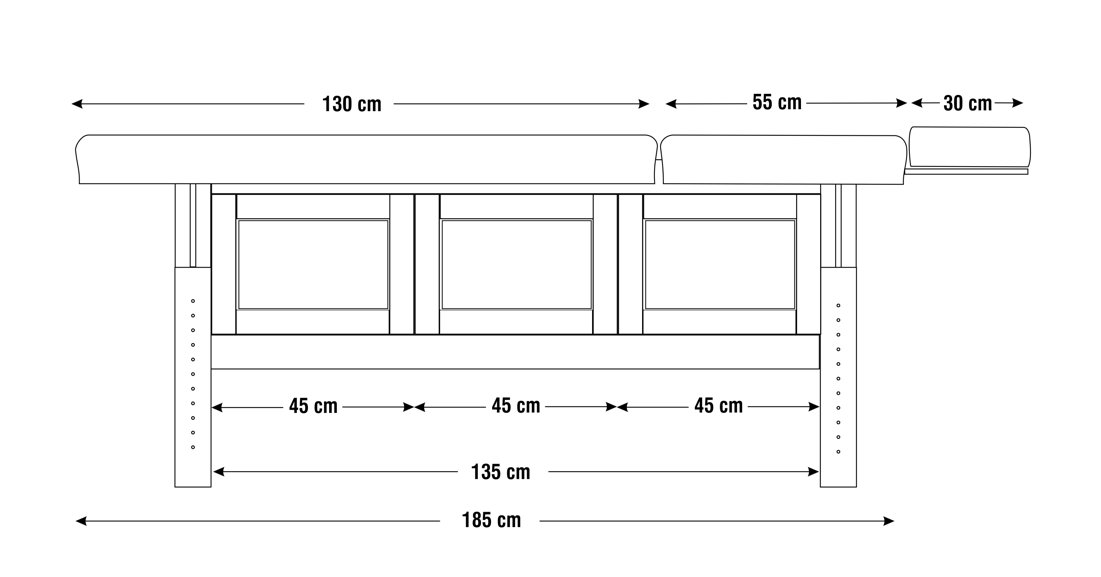 Dimensiuni perna  două sectiuni, model Hermes, schita 2