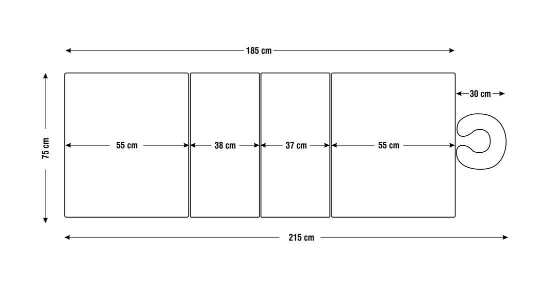 Dimensiuni perna  patru sectiuni, model Hermes, schita 4
