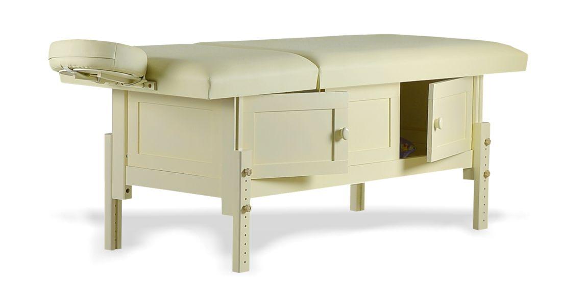 Hermes, masă de masaj staționară, structură lemn masiv de fag finisaj crem, pernă două secțiuni, tapițerie crem