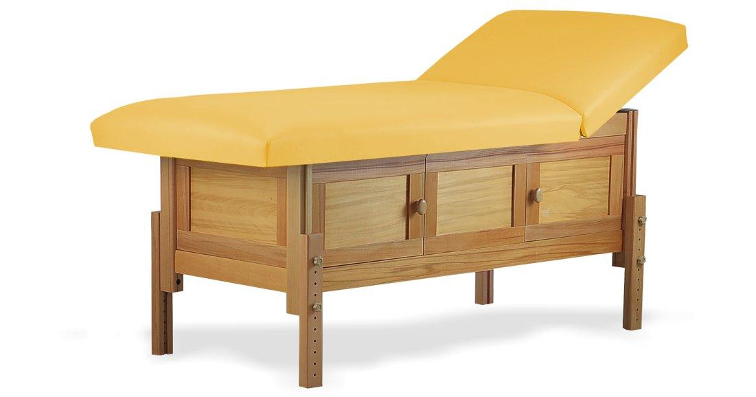 Hermes, masă de masaj staționară, structură lemn masiv de fag finisaj natur, pernă două secțiuni, tapițerie galben