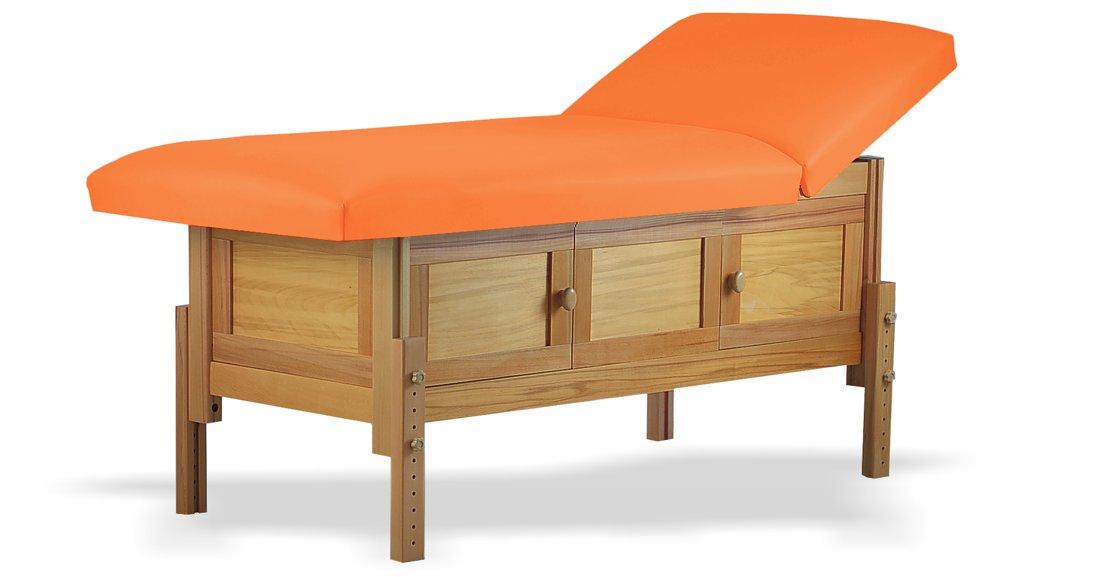 Hermes, masă de masaj staționară, structură lemn masiv de fag finisaj natur, pernă două secțiuni, tapițerie orange