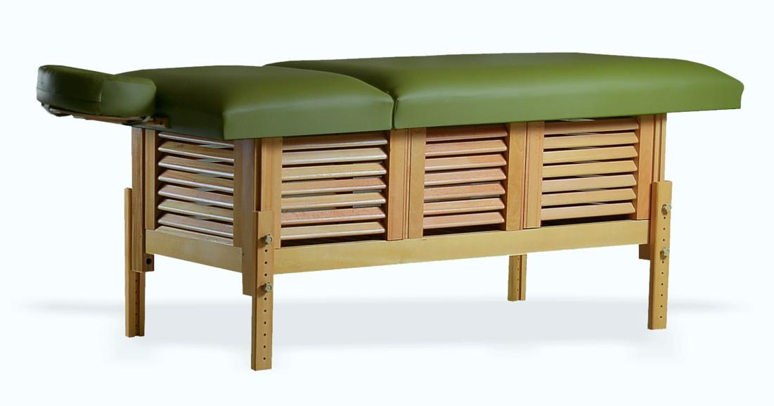 Masă de masaj staționară, model Laguna, de la BIOS, pernă două secțiuni, tapițerie olive, finisaj lemn natur