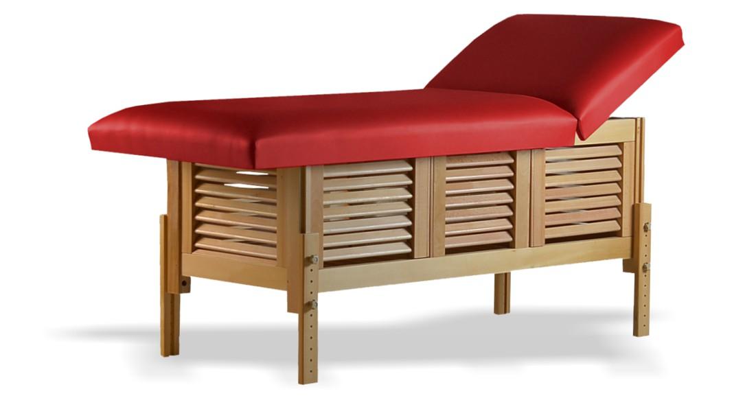 Masă de masaj staționară, model Laguna, de la BIOS, pernă două secțiuni, tapițerie roșie, finisaj lemn natur