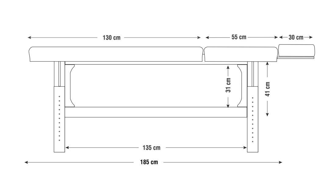 Dimensiuni perna  două sectiuni, model Lotus, schita 2