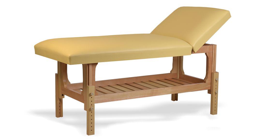 Lotus - masă de masaj fixă, lemn masiv de fag, finisaj natur, pernă două secțiuni, culoare crem