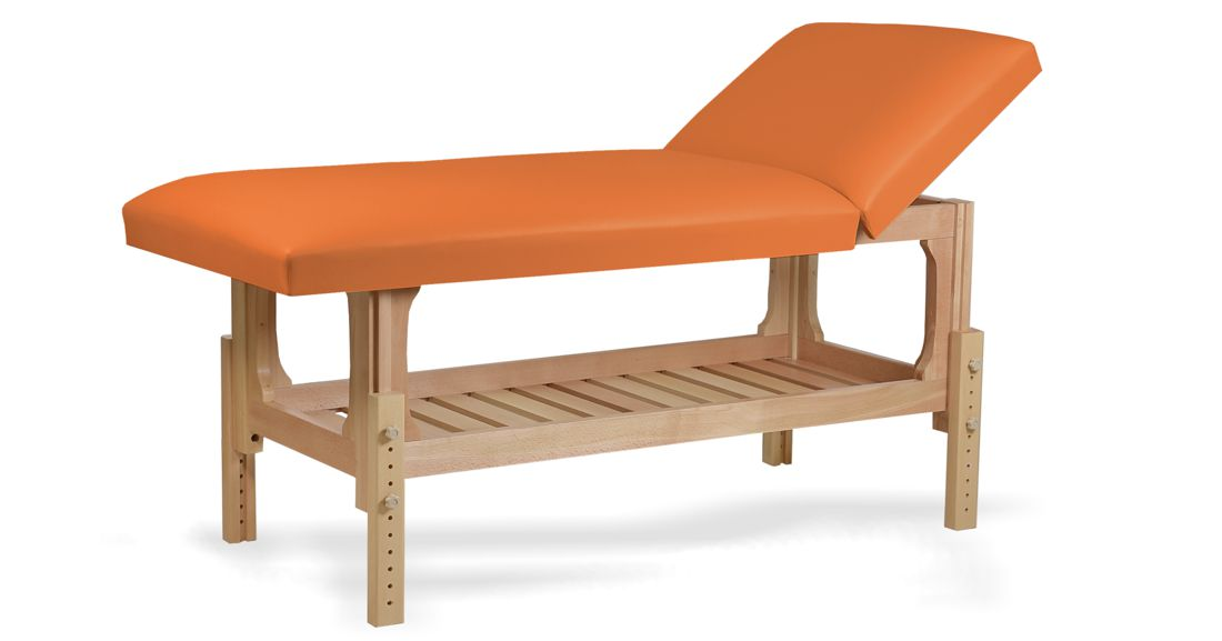 Lotus - masă de masaj fixă, lemn masiv de fag, finisaj natur, pernă două secțiuni, culoare orange