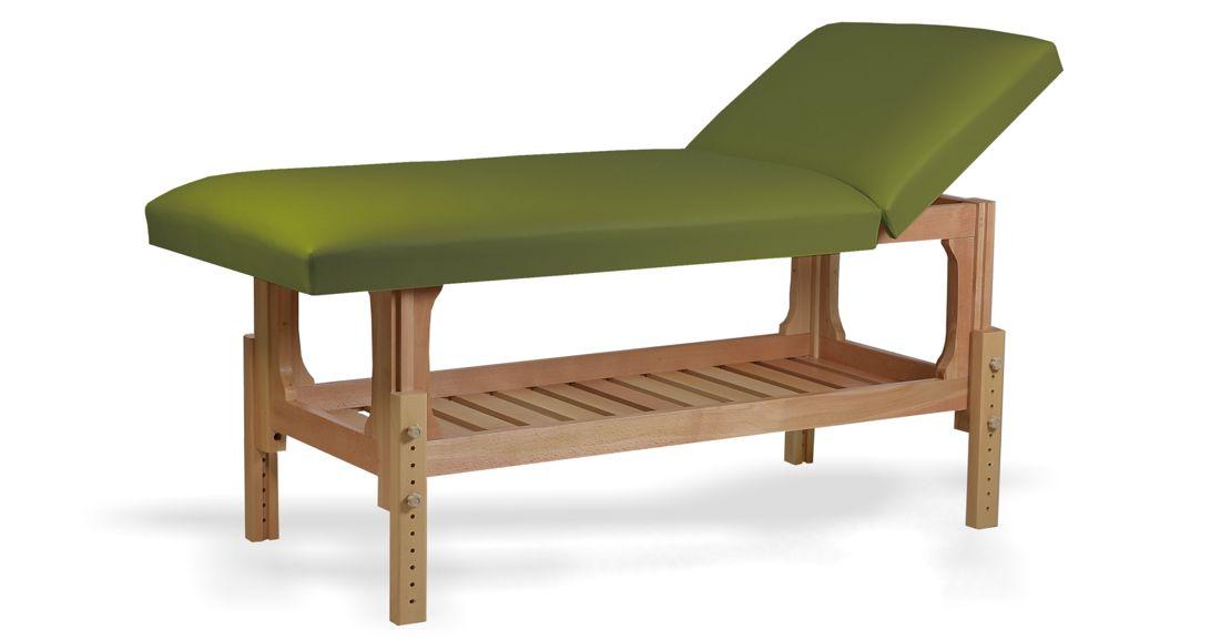 Lotus - masă de masaj fixă, lemn masiv de fag, finisaj natur, pernă două secțiuni, culoare verde-olive