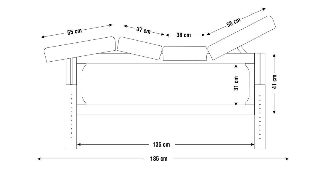 Dimensiuni perna  patru sectiuni, model Lotus, schita 1