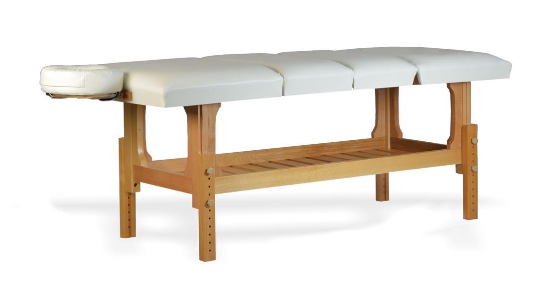 Lotus - masă de masaj fixă, lemn masiv de fag, finisaj natur, pernă patru secțiuni, culoare alb
