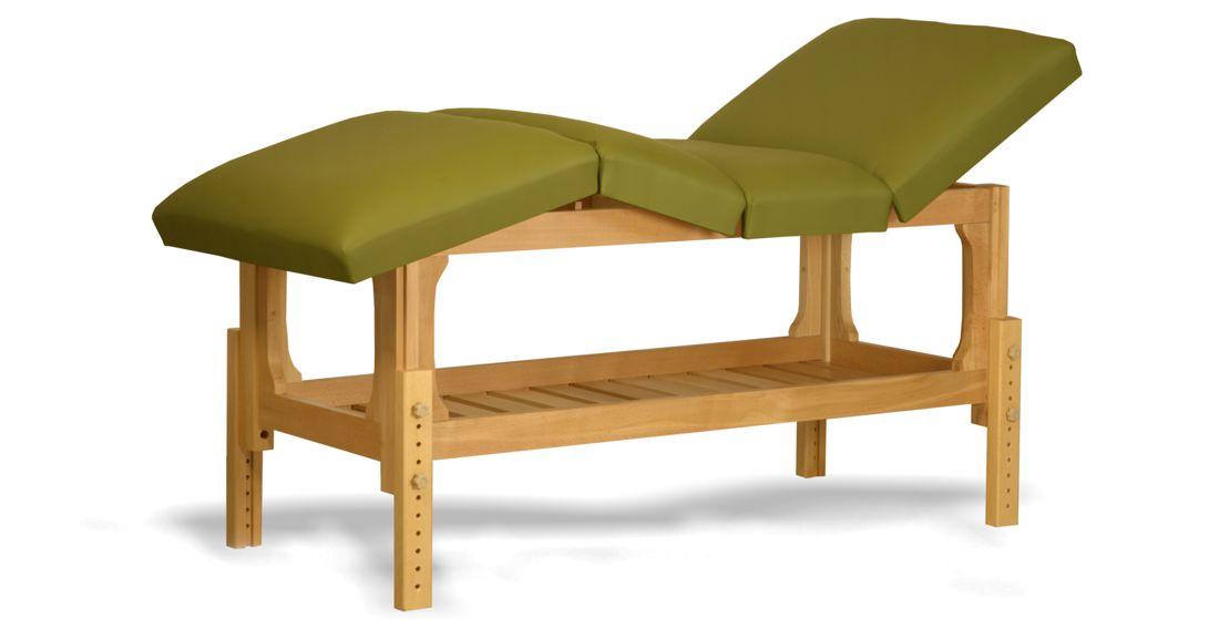 Lotus - masă de masaj fixă, lemn masiv de fag, finisaj natur, pernă patru secțiuni, culoare verde-olive