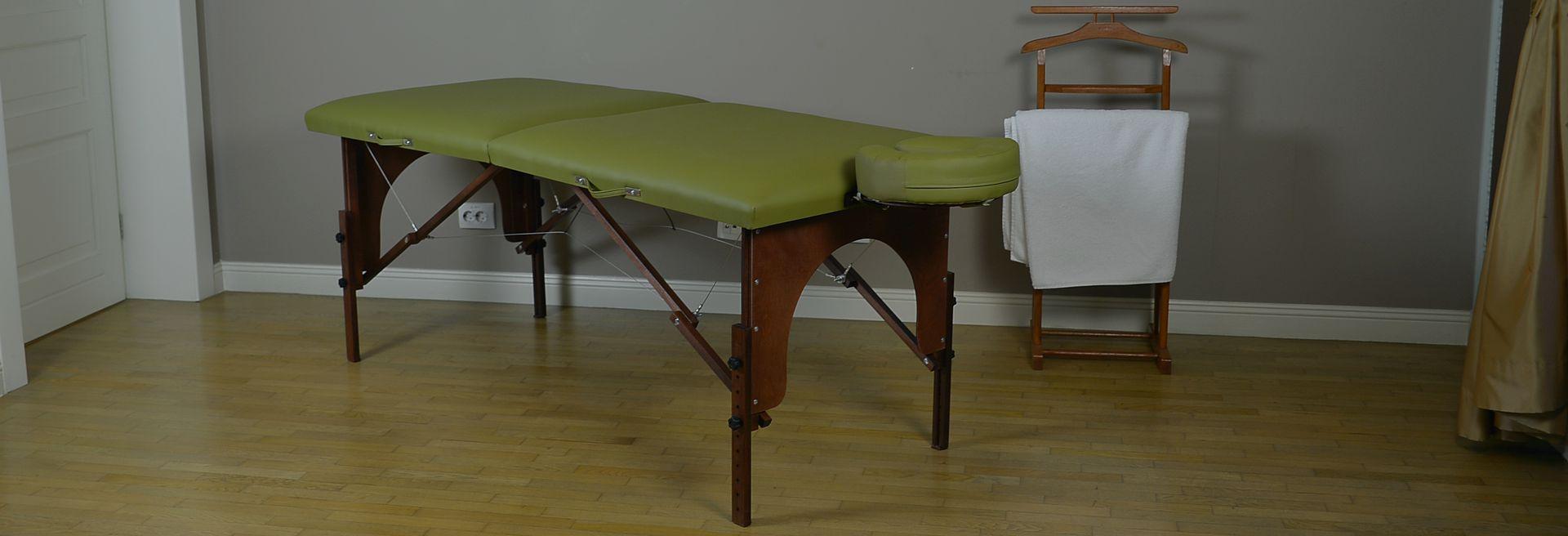 Masa de masaj portabila, model Arcada, finisaj wenge, tapiterie olive